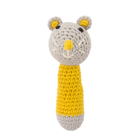 Crochet Mouse Rattle Yellow