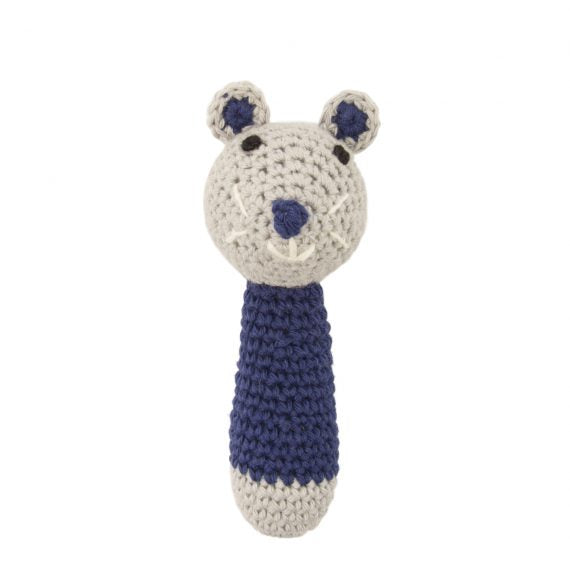 Crochet Mouse Rattle Blue