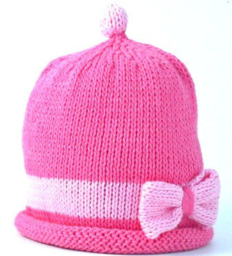 Candy/pink Bow Hat (Size - 6 to 12 months)