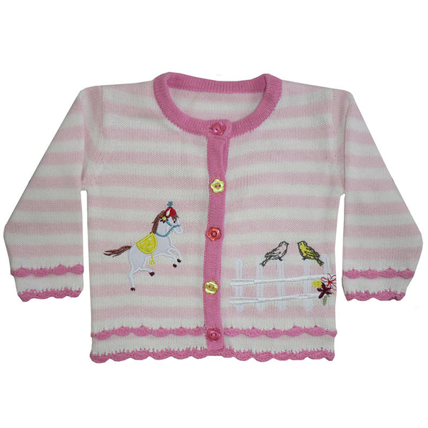 Cardigan - pink & white strip - horse and bird