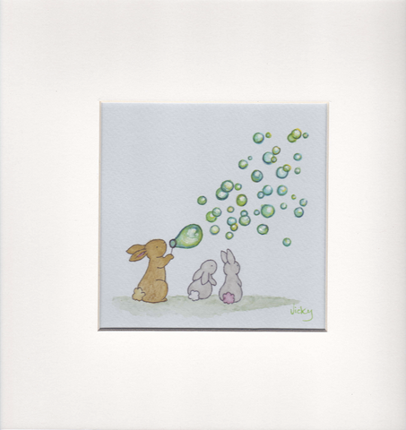 3 Bunnies and Green Bubbles - Framed