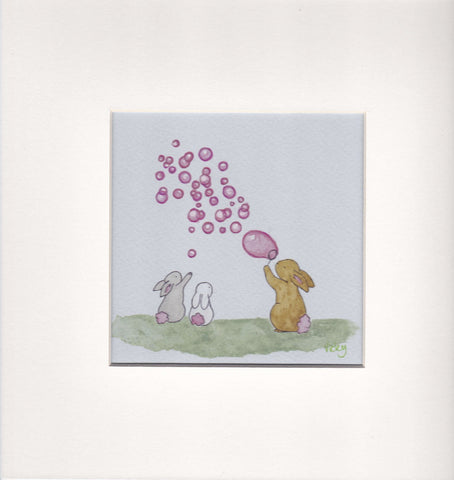 3 Bunniers and Pink Bubbles - Framed