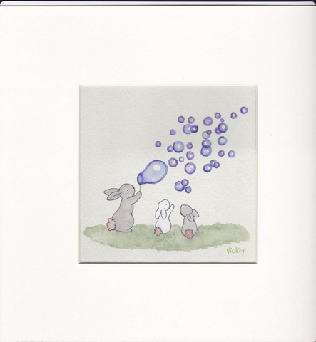 3 Bunnies and Purple Bubbles - Framed