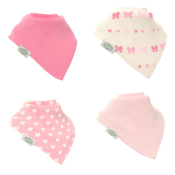 Bibs - Girl Bandana dribble bibs -hearts & bows