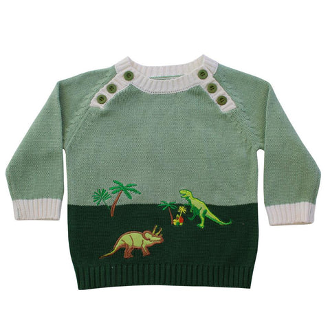 Jumper - Green dinosaur boy
