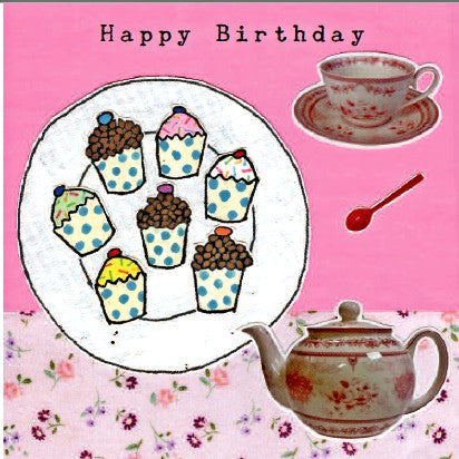 Happy Birthday - Tea Pot, Tea Cup & Plate