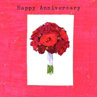 Happy Anniversary - Bunch of red roses