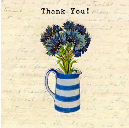 Thank you - Flowers in blue striped jug