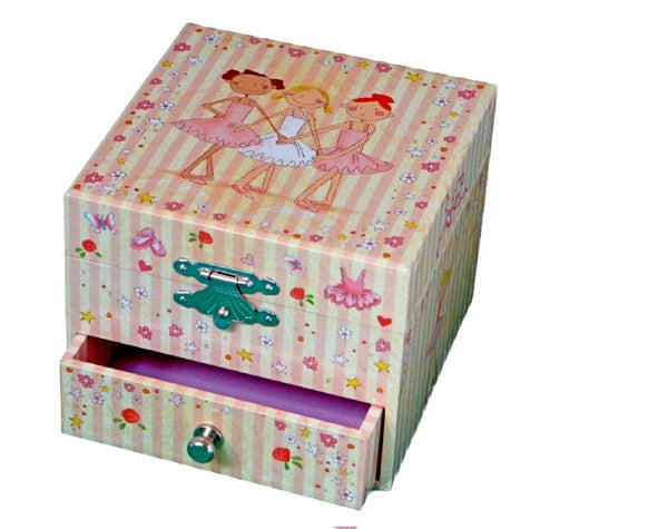 Musical Cube Box Ballerina Pink Striped