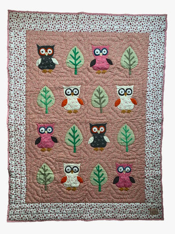 Owl - single bed quilt - pink