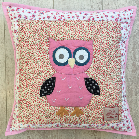 owl - cushion cover - pink