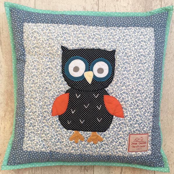 owl- cushion cover - blue