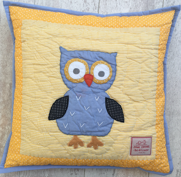 owl - cushion cover - yellow
