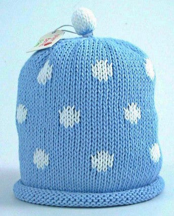 Sky white spot Hat (Size - 6 to 12 months)