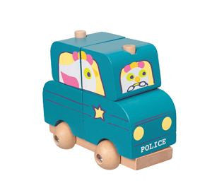 Stacking Police Car - Wood
