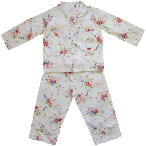 Pyjama Set - White Flower Print