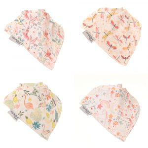 Girl Bandana dribble bibs- Dragon fly, birds & butterfly