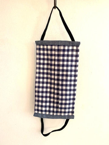 Face mask - Blue gingham - size- Large