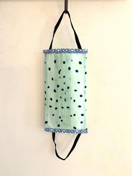 Face Mask - Mint green with blue spot- size- Large