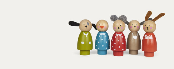 Set of five Moulin Roty wooden figures