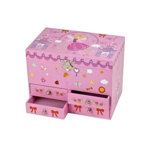 Musical Jewellery box fairy & Castle pink figurine Ballerina