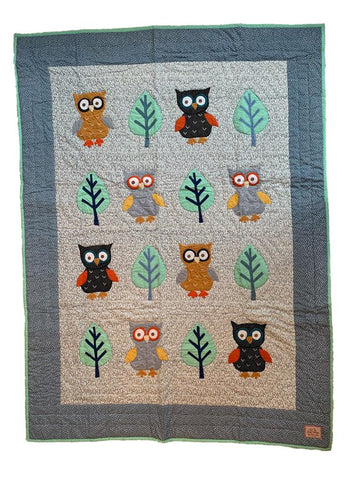 Owl - single bed quilt - blue