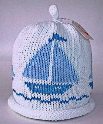 Sky boat on white hat (Size - 6 to 12 months)
