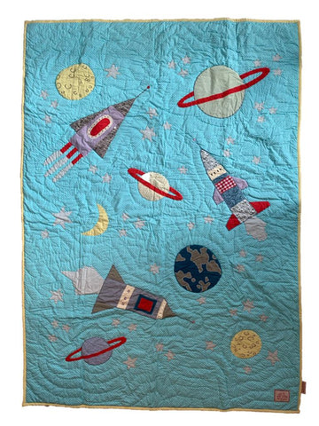 Space - single bed quilt - turquoise