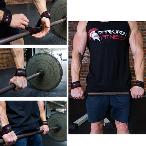 Purpose of Lifting Straps--The Safest Way to Train: Collage of Dark Iron Fitness Lifting Straps