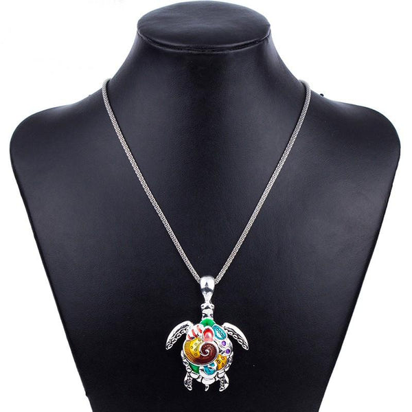 Colorful Sea Turtles Silver Plated Pendant Necklace. FREE GIVEAWAY