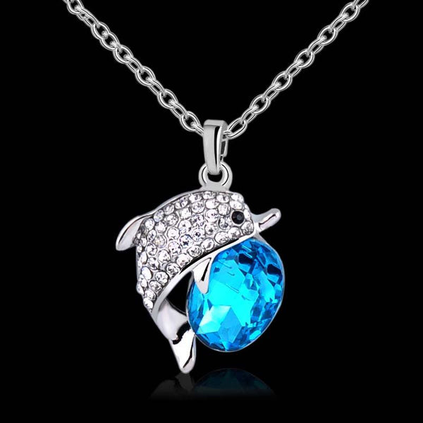 Dolphin Rhinestone Crystal Pendant Necklace. Free Giveaway