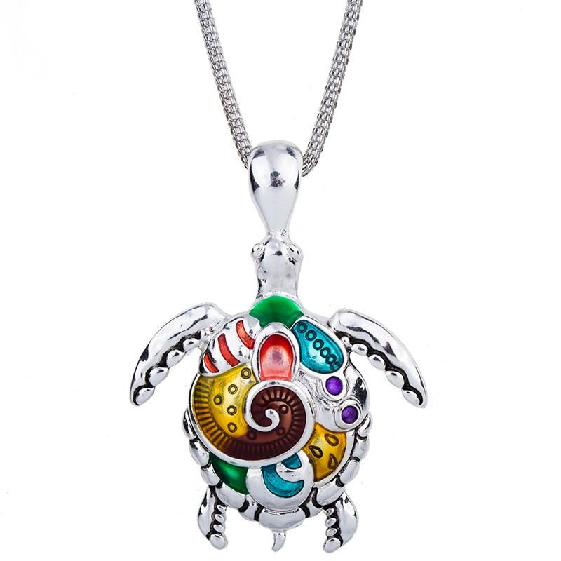 Colorful Sea Turtles Silver Plated Pendant Necklace - QualityGrab