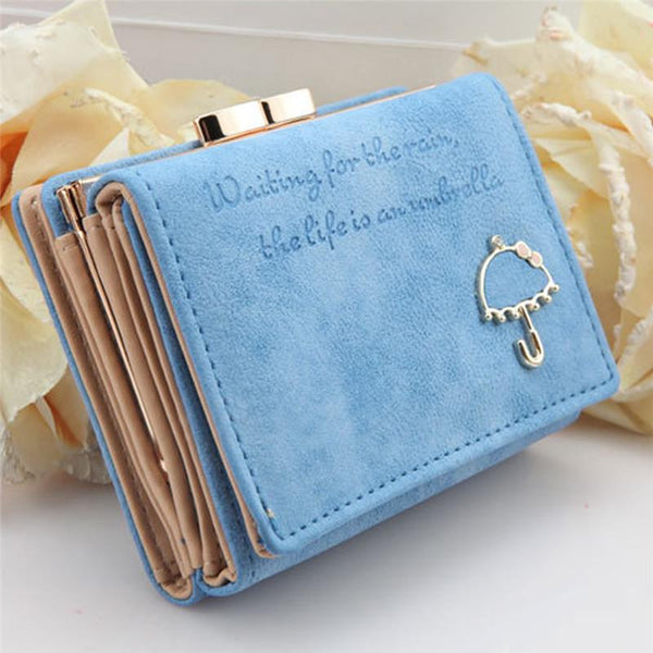 "Best Leather Women Card Wallet With Wording ""Waiting for the rain, the life is an Umbrella"""