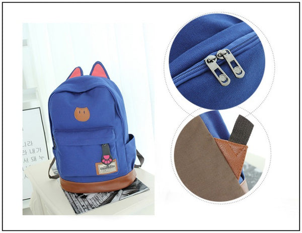 Korea Style Women Cat Ear Canvas Backpack! FREE SHIPPING