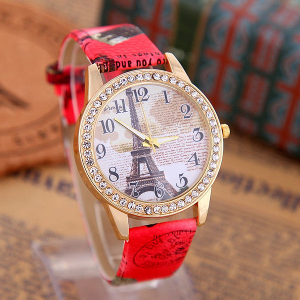Eiffel Tower Leather Watch Women. FREE SHIPPING WORLDWIDE!