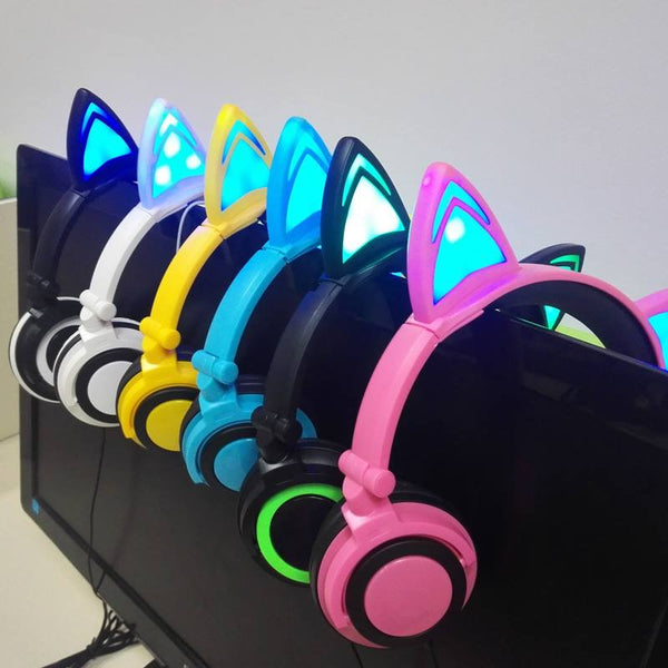Foldable Glowing Led Kitten Ear Headphones-New 2017 Must Have Item