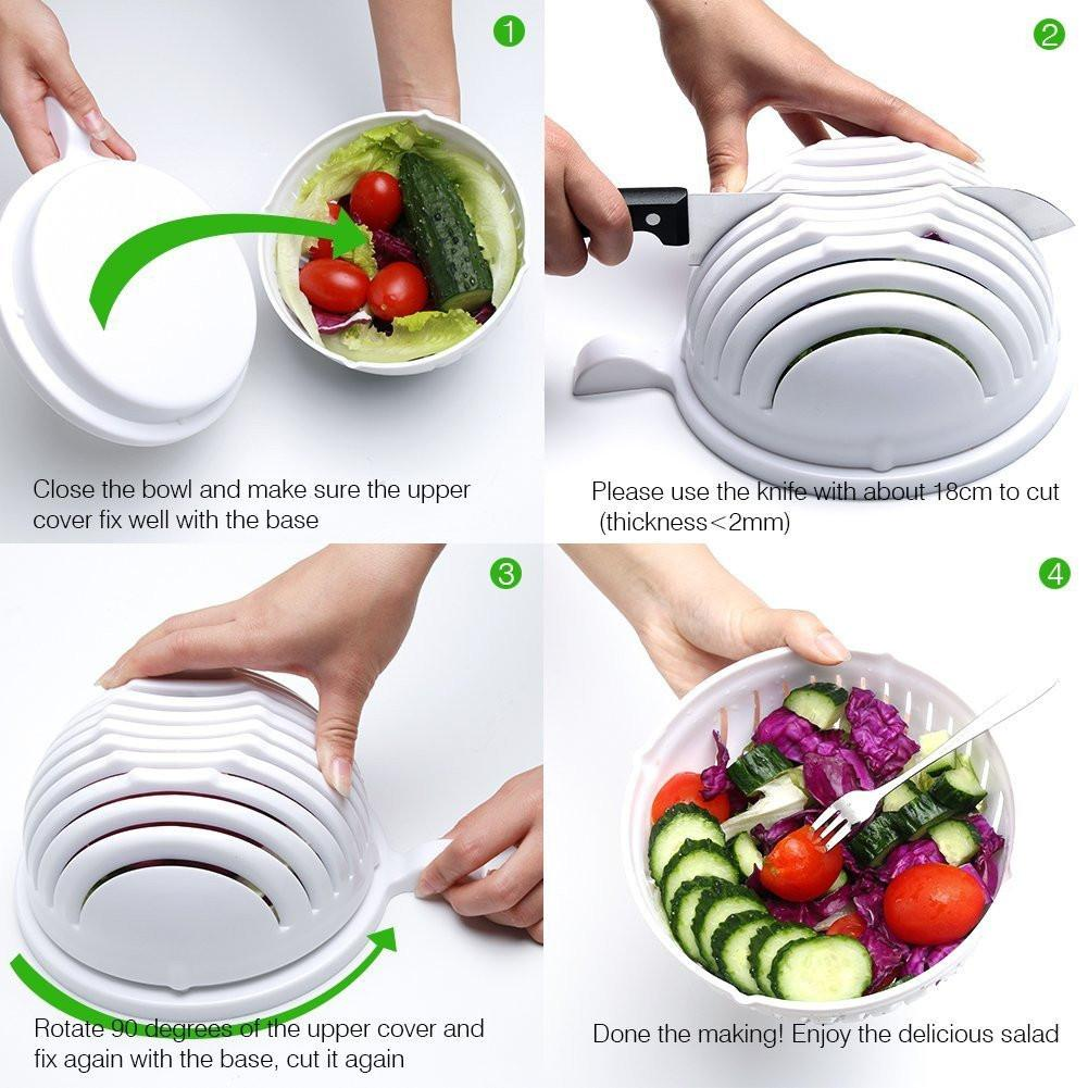 SALAD WASHER AND CUTTER BOWL. MAKE SALAD IN 60 SECOND