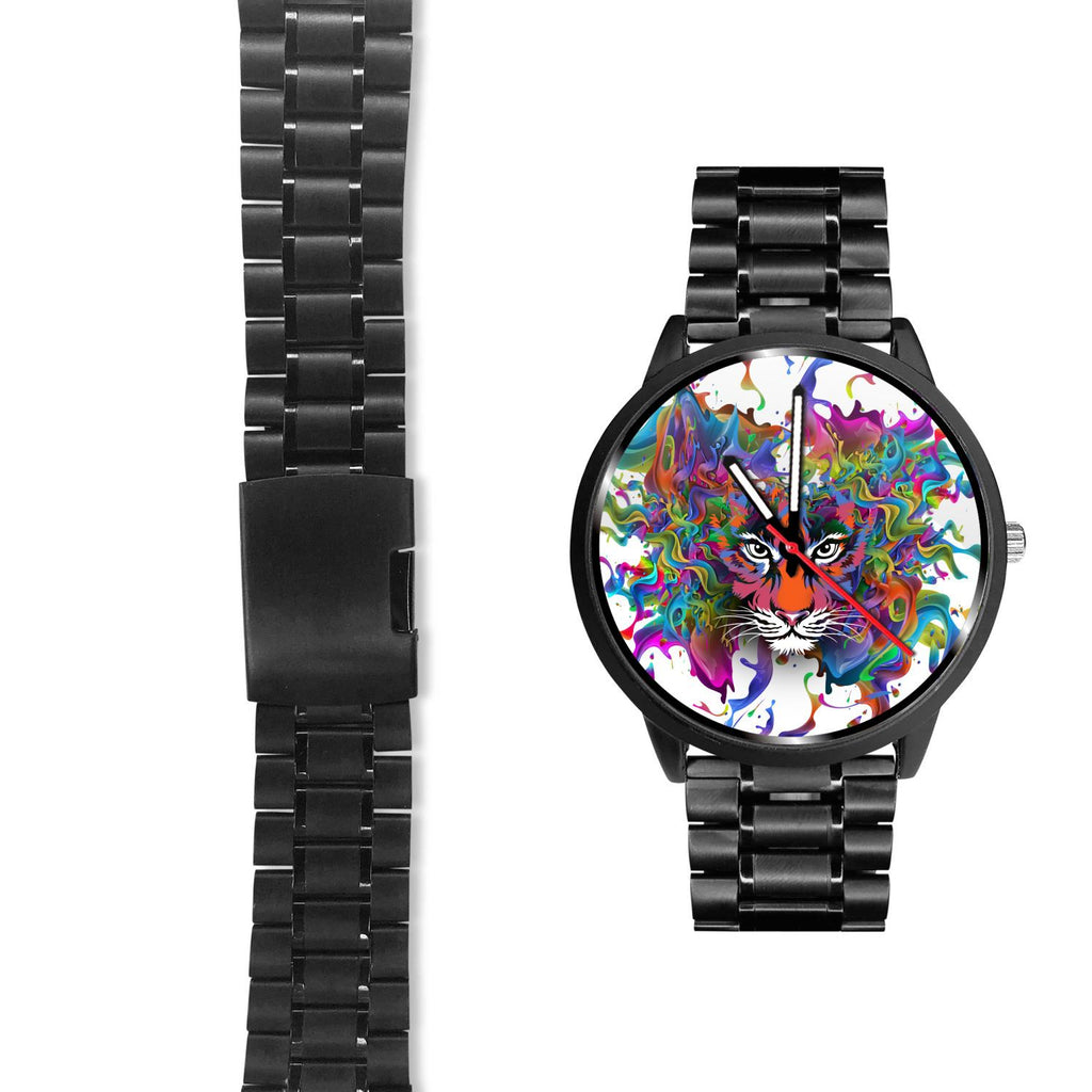 Tiger On Rainbow Fire Stainless Steel Watch