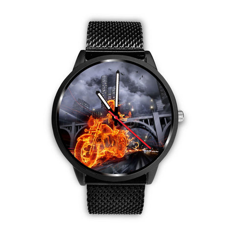 Fire Skull Biker Stainless Steel Watch