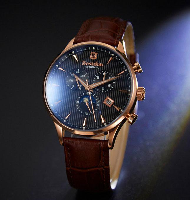 Moon Phase Automatic Genuine Leather Men Watch