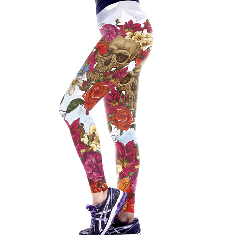 MULTI COLORED FLORAL SKULL LEGGINGS