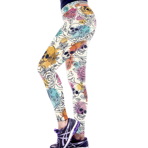 Colorful Floral Skull Leggings