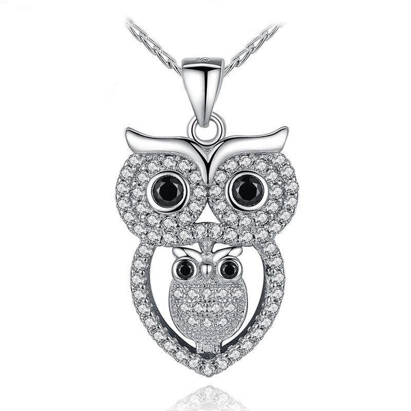 Owl Mummy & Baby Pendant Necklace.