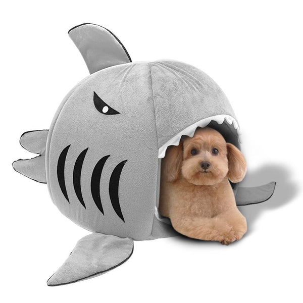 Shark Cat/Dog House With Removable Bed Cushion
