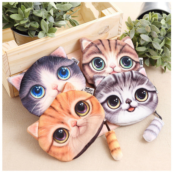 2016  Soft Fluffy Cat Coin Purse With Tail