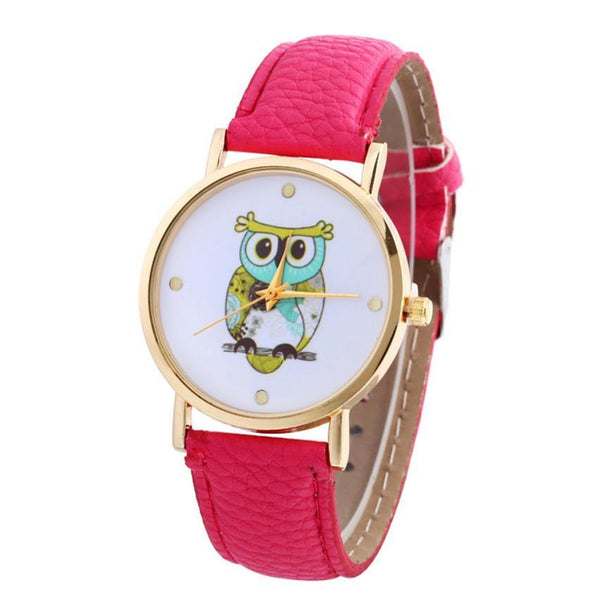 Owl Patterns Leather Women Watch. Free Shipping