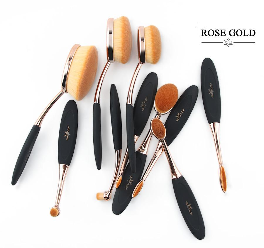 Professional Oval Rose Gold Brush Set (10 Pieces)