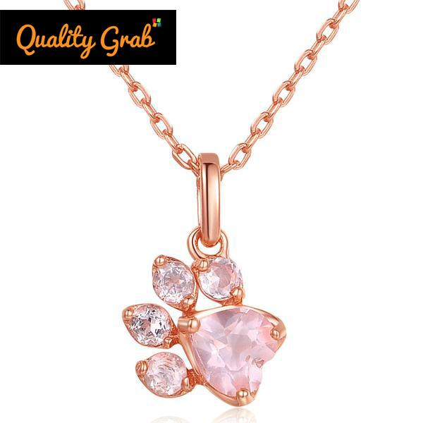Pink Natural Gemstone Rose Cat Paw Necklace
