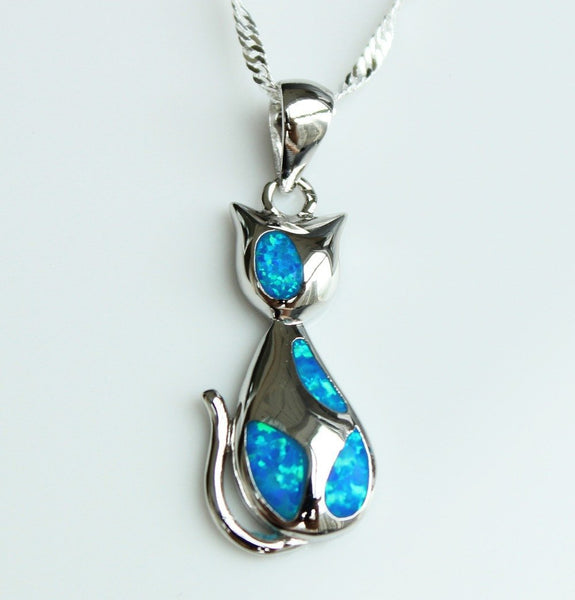 Charming Blue Fire Opal Cat Pendant Necklace
