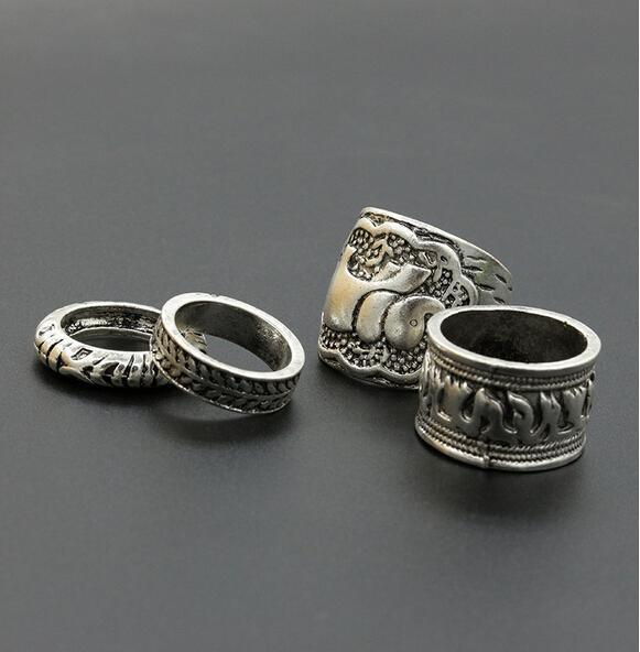 New Vintage Carved Elephant Four Ring Sets